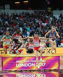 London, August 09 2017 . Fadwa Sidi Madane, Morocco, leads in the women's 3,000m steeplechase heats on day six of the IAAF London 2017 world Championships at the London Stadium. © Paul Davey.