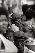 Woman in High Street Crowd