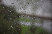 Raindrops on a window pane. London, England, UK.