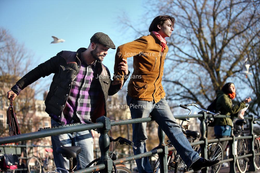 Nederland, Amsterdam , 14 november 2011..Arie Boomsma en Thierry Baudet..Thierry Baudet is jurist en historicus.. Arie Boomsma is Nederlands televisiepresentator en fotomodel..Arie Boomsma.Foto:Jean-Pierre Jans