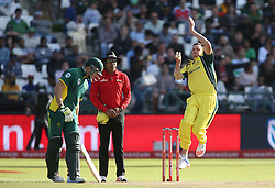 Chris Tremain of Austrailia sends down a delivery during the 5th ODI match between South Africa and Australia held at Newlands Stadium in Cape Town, South Africa on the 12th October  2016<br /> <br /> Photo by: Shaun Roy/ RealTime Images