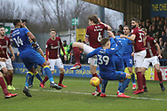 Scramble in the box during the EFL Sky Bet League 1 match between AFC Wimbledon and Northampton Town at the Cherry Red Records Stadium, Kingston, England on 10 February 2018. Picture by Matthew Redman.