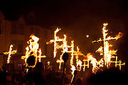 The annual Lewes Bonfires procession and bonfire events in Lewes, East Sussex, UK, on November the 5th are the largest celebrations of this kind, marking Guy Fawkes night, the tradition in Lewes comes from Christian martyrs and can be traced back centuries.