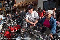 Mark and Debra Norris of Perry, FL with his 1977 Harley-Davidson Shovelhead and her 1969 Harley-Davidson Shovelhead during Daytona Beach Bike Week 2015. FL, USA. March 14, 2015.  Photography ©2015 Michael Lichter.