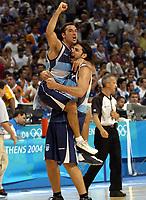 26/08/04 - ATHENS  - GREECE -  - BASKETBALL QUARTERFINAL MATCH   - Indoor Olympic Stadium - <br />ARGENTINA win (69) over GREECE (64) <br />Argentine celebration after win the match.<br />Here Arg. cvelebration.<br />© Gabriel Piko / Argenpress.com / Piko-Press