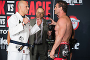 Houston, Texas - February 18, 2016: Royce Gracie, left, and Ken Shamrock face off during the Bellator 149 weigh-ins at the Toyota Center in Houston, Texas on February 18, 2016. (Cooper Neill for ESPN)