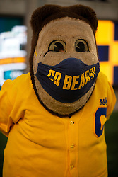 As the COVID-19 pandemic lingers, Cailfornia mascot Oski sports a mask as he roams the sidelines before an NCAA college football game against Nevada, Saturday, Sept. 4, 2021, in Berkeley, Calif. (AP Photo/D. Ross Cameron)