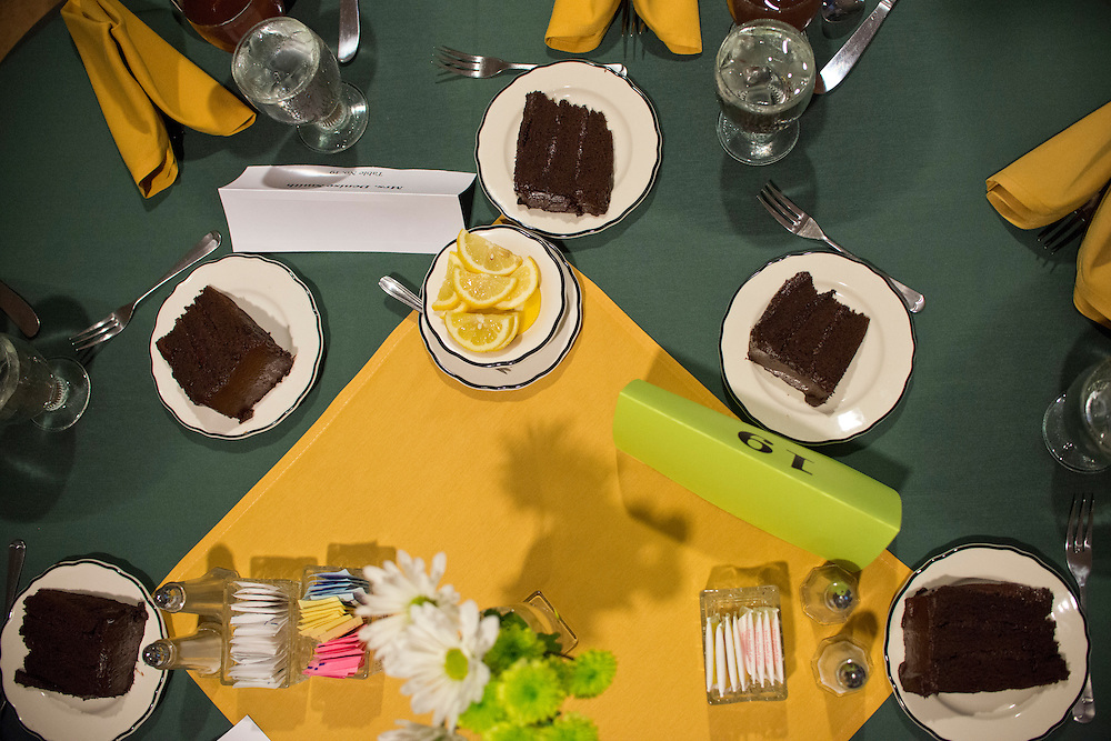 (photo by Matt Roth).Friday, July 20, 2012..Chocolate cake lines a table during the President's Banquet at The Forum in Decker College Center during McDaniel College's Parent Preview Friday, July 20, 2012.