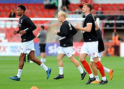 Cheltenham Town players warm up - Mandatory by-line: Nizaam Jones/JMP- 28/07/2018 - FOOTBALL - Jonny-Rocks Stadium - Cheltenham, England - Cheltenham Town v Walsall - Pre-season friendly