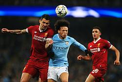Leroy Sane of Manchester City challenges Dejan Lovren of Liverpool - Mandatory by-line: Matt McNulty/JMP - 10/04/2018 - FOOTBALL - Etihad Stadium - Manchester, England - Manchester City v Liverpool - UEFA Champions League Quarter Final Second Leg