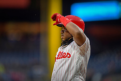 May 22, 2018 - Philadelphia, PA, U.S. - PHILADELPHIA, PA - MAY 22: Philadelphia Phillies third baseman Maikel Franco (7) looks on from home plate during the MLB game between the Atlanta Braves and the Philadelphia Phillies on May 22, 2018 at Citizens Bank Park in Philadelphia PA. (Photo by Gavin Baker/Icon Sportswire) (Credit Image: © Gavin Baker/Icon SMI via ZUMA Press)