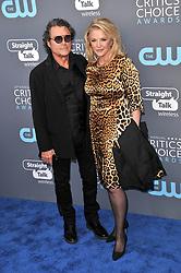 Ian McShane and Gwen Humble at The 23rd Annual Critics' Choice Awards held at the Barker Hangar on January 11, 2018 in Santa Monica, CA, USA (Photo by Sthanlee B. Mirador/Sipa USA)