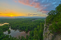 The views are spectacular from Inspiration Point. You can see the cliffs of the LaRue Pine Hills and the marshy area beneath. The sunset colors were reflecting on the still waters of the ponds below.<br /> <br /> Date Taken: July 23, 2014