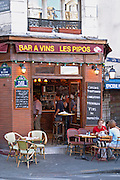 Pipos wine bar and restaurant in Paris (Place Larue, rue de l'Ecole Polytechnique) Paris, France.