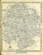 Herefordshire is a county in the West Midlands of England, governed by Herefordshire Council. Copperplate engraving From the Encyclopaedia Londinensis or, Universal dictionary of arts, sciences, and literature; Volume IX;  Edited by Wilkes, John. Published in London in 1811