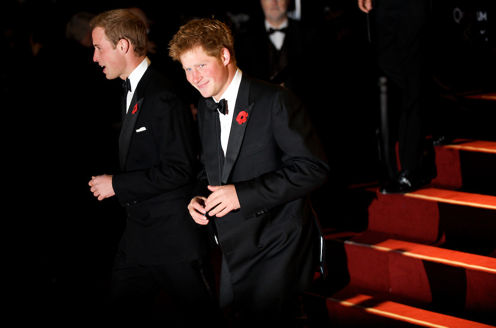 London.  October 29, 2008.  Prince William and brother Prince Harry attend the royal world premiere of 'Quantum of Solace,' the 22nd film in the James Bond franchise, at the Odeon Theater in Leicester Square on October 29, 2008.  (Photo by Mark Bryan Makela)