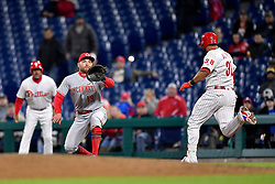 April 11, 2018 - Philadelphia, PA, U.S. - PHILADELPHIA, PA - APRIL 11: Cincinnati Reds first baseman Joey Votto (19) awaits the ball for the out at first during the MLB game between the Cincinnati Reds and the Philadelphia Phillies on April 11, 2018 at Citizens Bank Park in Philadelphia PA. (Photo by Gavin Baker/Icon Sportswire) (Credit Image: © Gavin Baker/Icon SMI via ZUMA Press)