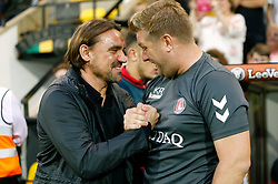 Charlton Athletic manager Karl Robinson and Norwich City manager Daniel Farke