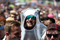 Festival goers watch Slaves performing on The Other Stage on the fifth day of the Glastonbury Festival at Worthy Farm in Somerset.