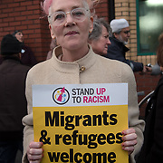 Sophie Bolt of Waltham Forest Stand up to Racism against hate and the outrageous 'Punish a Muslim Day' letter recently sent to homes across the country is yet another example of anti-Muslim hate crime which has doubled over the last year on the 3rd March 2018 at Lea Bridge Road Mosque, London, UK.