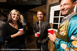 Rea McLean and Chris Long at the after-Party at Revival Cycles on Sunday after the Handbuilt Motorcycle Show. Austin, TX. April 12, 2015.  Photography ©2015 Michael Lichter.