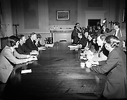 SDLP Delegation meet An Taoiseach at Government Buildings to discuss security and general situation relating to Northern Ireland..27/05/1976.05/27/1976.27th May 1976..Picture shows on Left (L-R), Mr. Michael O'Leary TD, Minister for Labour, Dr. Conor Cruise O'Brien TD, Minister for Post & Telegraph, An Taoiseach, Mr. Liam Cosgrave TD and Dr. Garret Fitzgerald TD, Minister for Foreign Affairs and on Right (L-R)  the SDLP delegation Mr. Ivan Cooper, Mr. Paddy Devlin, Mr. John Hume, Mr. Austin Currie, Mr. Seamus Mallon and Mr. Frank Feely