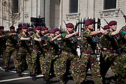 St. George's Day Parade, London. This has not taken place in the city since 1585, so is a tradition revived in 2010. Members of the Parachute Regiment marching.