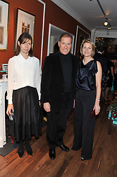 Left to right, LADY SARAH CHATTO and VISCOUNT & VISCOUNTESS LINLEY at the Linley Christmas party at Linley, 60 Pimlico Road, London on 20th November 2012.