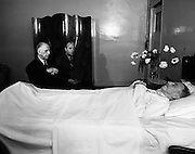 President Eamon de Valera pays his last respects to Sean Lemass. Regarded as one of the 20th century, he served as Taoiseach from 1959-1966.<br /> 11/05/1971