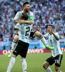 KAZAN, June 30, 2018  Gabriel Mercado (L bottom) of Argentina celebrates scoring with teammate Lionel Messi (L top) during the 2018 FIFA World Cup round of 16 match between France and Argentina in Kazan, Russia, June 30, 2018. (Credit Image: © Li Ming/Xinhua via ZUMA Wire)