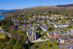 View of Rhu village on the Gare Loch in Argyll and Bute, Scotland, UK