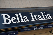 Sign for the food and restaurant brand Bella Italia in Birmingham, United Kingdom.