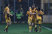 Jazzi Barnum-Bobb of Newport County celebrates his teams fourth goal, 4-1, during the The FA Cup match between Newport County and Alfreton Town at Rodney Parade, Newport, Wales on 15 November 2016. Photo by Andrew Lewis.