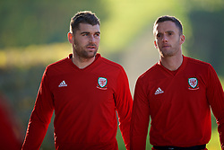 CARDIFF, WALES - Sunday, November 18, 2018: Wales' Sam Vokes (L) and Andy King arrive for a training session at the Vale Resort ahead of the International Friendly match between Albania and Wales. (Pic by David Rawcliffe/Propaganda)
