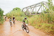 Azukile Simayile and Sipho Madolo of Team Meerendal Songo Specialized maintain their lead of the Exarro category during stage 1 of the 2014 Absa Cape Epic Mountain Bike stage race held from Arabella Wines in Robertson, South Africa on the 24 March 2014<br /> <br /> Photo by Greg Beadle/Cape Epic/SPORTZPICS