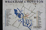 Peeling map of rivers and local boat businesses at Wroxham and Hoveton in the heart of the Norfolk Broads.