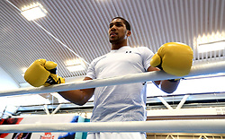 Anthony Joshua during the workout at the English Institute of Sport, Sheffield.