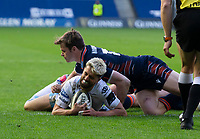 Rugby Union - 2021 Guinness Pro14 Rainbow Cup - Northern Group - Edinburgh vs Glasgow Warriors - Murrayfield<br /> <br /> Adam Hastings of Glasgow Warriors scores a try to make it 22-17<br /> <br /> Credit : COLORSPORT/BRUCE WHITE