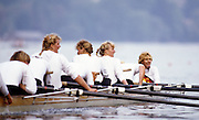 Bled, Slovenia, YUGOSLAVIA.  DDR W8+, Bow, Liane JUSTH, Ute WAGNER - WILD, Ina GRAPENTHIN, Annette HOHN, Anja KLUGE, Katrin SCHROEDER, Ramona BALTHASAR, stroke Martina WALTHER cox Daniela NEUNAST.  1989 World Rowing Championships, Lake Bled. [Mandatory Credit. Peter Spurrier/Intersport Images]
