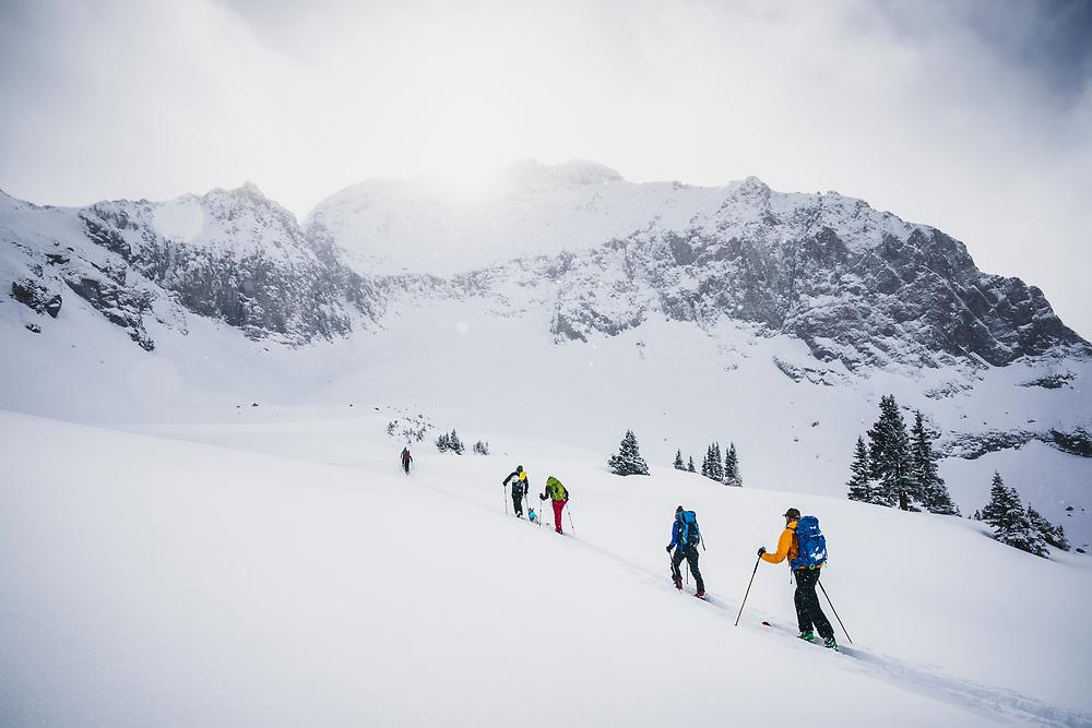Bryce Astill, Jacki Arévalo, Koorosh Rassekh, Halcy Webster, Sonya Pevzner, and Stacy Bare explore the alpine terrain above the Mount Hayden Backcountry Lodge, San Juan Range, Colorado.