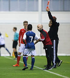 Scotland's Karamoko Dembele with Scotland's Head Coach Brian McLaughlin. Scotland 2 v 2 Wales, Under 16 Victory Shield, Oriam 1/11/2016.