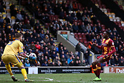 Bradford City forward Omari Patrick (34) goes close but Gillingham goalkeeper Tomas Holy (13) collects the ball during the EFL Sky Bet League 1 match between Bradford City and Gillingham at the Northern Commercials Stadium, Bradford, England on 24 March 2018. Picture by Mick Atkins.