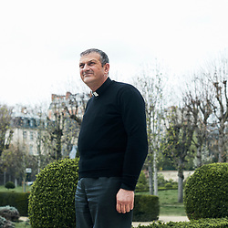 Paris, France. March 21, 2017. Father Jacques Mourad, from Syria, posing in the garden of the Maison des Missions Etrangeres. Photo: Antoine Doyen