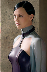 RELEASE DATE: December 2, 2005 <br /> MOVIE TITLE: Aeon Flux <br /> STUDIO: Paramount Pictures <br /> PLOT: 400 years in the future, set in the year 2415, Aeon Flux is a mysterious assassin, working for the Monicans, a group of rebels trying to overthrow the government. When she is a sent on a mission to kill the Chairman, a whole new mystery is found. Directed by Karyn Kusama. <br /> PICTURED: CHARLIZE THERON stars as Aeon Flux. <br /> (Credit Image: © Paramount Pictures/Entertainment Pictures/ZUMAPRESS.com)