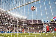 Santa Clara, CA - Monday June 06, 2016: Argentina forward Gonzalo HiguaÌn (9) celebrates a goal during a Copa America Centenario Group D match between Argentina (ARG) and Chile (CHI) at Leviís Stadium.