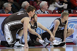 29 December 2014:  Josh Schaben, Scott Hahn, Nate Des Jardins during an NCAA non-conference interdivisional exhibition game between the Quincy University Hawks and the Illinois State University Redbirds at Redbird Arena in Normal Illinois.