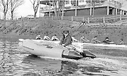 """London. United Kingdom.  Mike SPRACKLEN, coaching from a """"Rib"""" passing Thames Tradsman RC, Barnes Bridge, 1987 Pre Fixture, Varsity Boat Race. National Squad vs Cambridge University BC on the Championship Course Mortlake to Putney. River Thames.  Saturday 21.03.1987<br /> <br /> [Mandatory Credit: Peter SPURRIER/Intersport images]<br /> <br /> National Squad, Bow, Terry Dillon, John MAXEY, John GARRETT, Martin CROSS, Andy HOLMES, Steve REDGRAVE, Adam CLIFT, Richard STANHOPE and Cox, Pat SWEENEY 19870321 Pre Boat Race fixture, National Squard vs Cambridge UBC, London UK"""