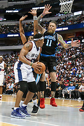 August 17, 2018 - Dallas, TX, U.S. - DALLAS, TX - AUGUST 17: Tri-State David Hawkins #34 tries to get around Power Cuttino Mobley #5 and Chris Andersen #11during the Big 3 Basketball playoff game between the Power and the Tri-State on August 17, 2018 at the American Airlines Center in Dallas, Texas. Power defeats Tri-State 51-49. (Photo by Matthew Pearce/Icon Sportswire) (Credit Image: © Matthew Pearce/Icon SMI via ZUMA Press)