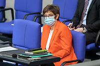 05 MAR 2021, BERLIN/GERMANY:<br /> Annegret Kramp-Karrenbauer, CDU, Bundesverteidigungsministerin, Debatte zum Internationalen Frauentag; Plenum, Reichstagsgebaeude, Deutscher Bundestag<br /> IMAGE: 20210305-01-047<br /> KEYWORDS: Maske, Mundschutz, Covid-19, Corona