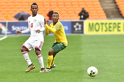 South Africa: Johannesburg: Bafana Bafana player Lebohang Maboe battle for the ball with Seychelles player Colin Esther during the Africa Cup Of Nations qualifiers at FNB stadium, Gauteng.<br />Picture: Itumeleng English/African News Agency (ANA)